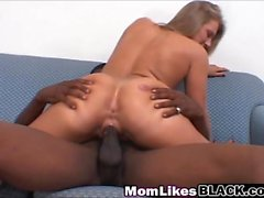 Brunette mommy licking pussy riding dong interracial