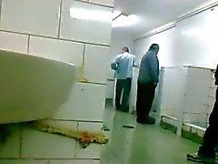 Oudere Mensch laat zich aftrekken en Pijpen im Openbaar WC