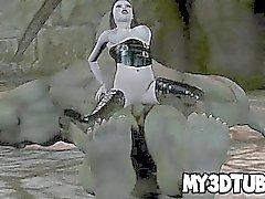 Chicas goth astuto 3D de jodida fuerza en un orco