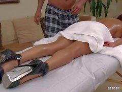 MILF Diamond Foxxx enjoys body massage in the nude