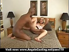 Hot blonde does blowjob for black guy in car and gets pussy licked