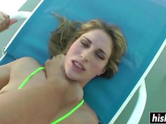 By the pool shagging with a Blonde