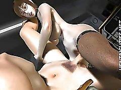 Quentes do borracho do hentai em 3D nos vidros cavalgar de Dick