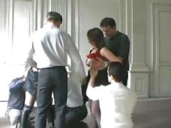 Mature French amateur Christina Salope in a hot gangbang scene