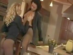 Pantyhose Wearing Lesbians In The Kitchen