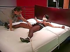 Spread on the bed nylon tickling