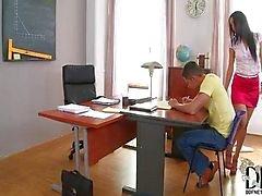 Hot footjob in classroom