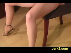Perverted redhead Justine in pantyhose