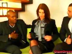 Glamorous mmf trio hot vibrator play segment
