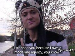 Fake agent picks up brunette amateur