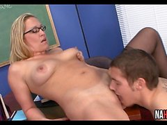 Slutty Blonde Teacher Rides Student Cock Jessie Cash