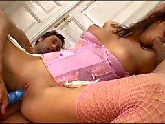 Brunette in pink lingerie DPed