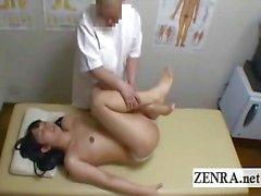Subtitled Japanese newhalf shemale CMNF massage handjob
