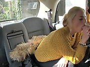 Big tits passenger fucking with driver in the backseat