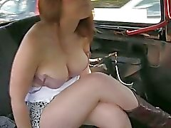 Hottie flashes her big tits then banged