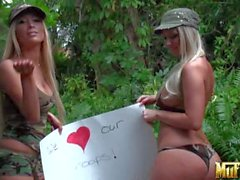 Busty military lezzies Tasha Reign and Molly Cavalli