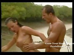 Naughty ebony maid services the masters dick then a brunette gets nailed on a boat