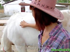 Euro cowgirl fingered in shavedpussy for cash