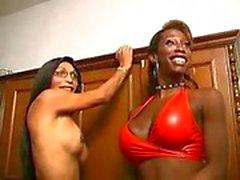 Schwarze und weiße Tgirls in group sex