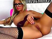 Sexy Blonde Babe Rubs Clit On Web Cam