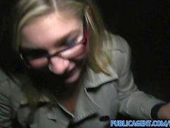 PublicAgent Blonde in glasses fucks big cock outdoors in public