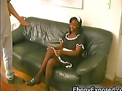 Ebony maid gives hot extra service
