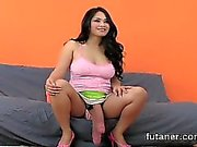 Horny sweeties bang the biggest strap-on dildos and spray ej