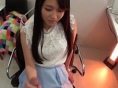 Hot Asian girl spreads her hairy pussy for cock