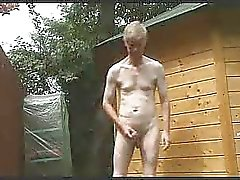 Outdoor strip, wank and cum