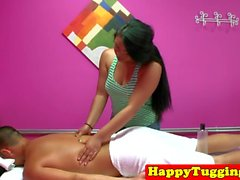 Busty oriental masseuse jerking and tugging