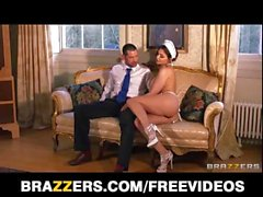 French maid Aletta Ocean plays sex doll for boss