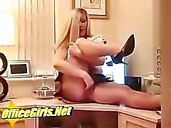 Slut English MILF Secretary In Glossy Tan Pantyhose Fingers Her P