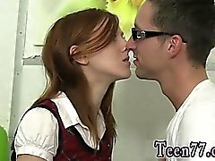 Blonde taste his cum and messy teen face full length Redhead