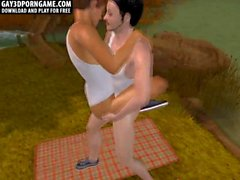 3D cartoon hunk getting fucked hard while camping