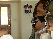 Stora Tits Tranny maid Jessy Dubais double Analys medan sugande