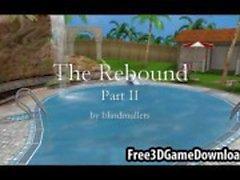 Tre vackra 3D Cartoon babes ha kul utomhus av poolen