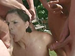 Cock hungry granny sucking while pissed on outdoor