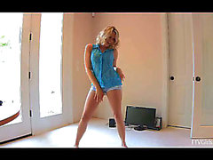 The sexy golden-haired honey Mia Malkova is moving sexily showing the real flexibility