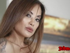 Stunning Asian babe in sexy lingerie takes on a huge cock
