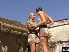 Hot blonde lesbians pleasure each other