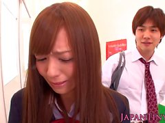 Japon kız öğrenci wanking ve emme horoz