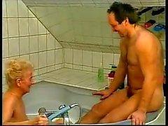Nasty German Grandma Fucked In Bathtub (amateur mother milf granny olderwoman younger man cumshot blowjob homemade )