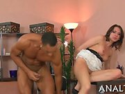Having studs thick pecker in her butt hole excites hotty
