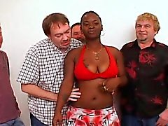 Ghetto Chick Pleases Group Of White Dick