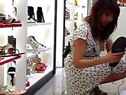 Upskirt Shoe Store Assistant 3