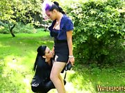 Glam lesbian piss soaked