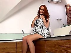 Pissing redhead tease snatch