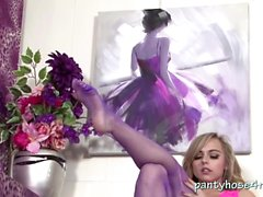 Blonde Lim In Her Purple Pantyhose
