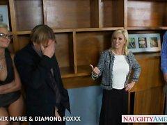 Rubias de Fénix Marie diamante y Foxxx follar foursome