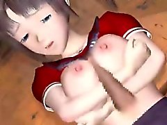 Распутная 3D аниме школьницей выходит сперма на лице